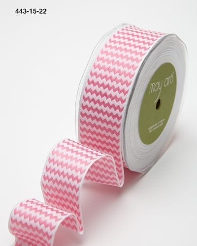 hot pink and white chevron striped woven wired ribbon