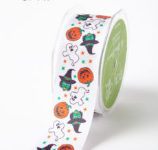 WHITE PUMPKIN / GHOST / WITCH Grosgrain w/ Print Ribbon